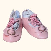 "Kid Pink Leather Antique German Doll or French Bebe Shoes ~ 1 ½"" by 3/4"" ~ please contact us for invoice. ~~ #21"