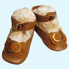 """Leather Doll shoes Antique French German Doll ~ 3"""" long X 1 3/8"""" wide ~~~ #9~ Please wait for an invoice"""