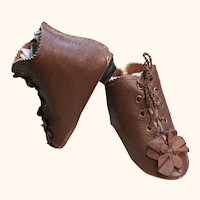 "Heeled Brown Kid Leather Doll Boots ~ 3 ¾"" long & 1 ½"" wide ~~ #11~ Please contact for an invoice."