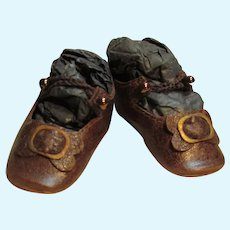 """Reserved G. ~ Kid Leather Brown Doll shoes Bru Style ~ 2 1/8"""" long X 7/8"""" wide ~  #10"""