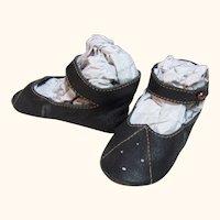 """Kid Dark Brown Leather German Doll or French Bebe shoes 3 3/8"""" long by 1 1/2"""" wide ~ Kestner S&H DEP K* R ~~ #31"""