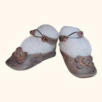 "Leather Doll Shoes 2 3/4""Long by 1 1.4"" wide Antique German K*R French Bebe DEP Kestner S&H ~ #35"