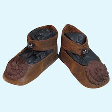 "Leather Doll shoes Antique French German Doll ~  2 3/4"" long X 1 1/4"" wide ~Please wait for an invoice~ #36"