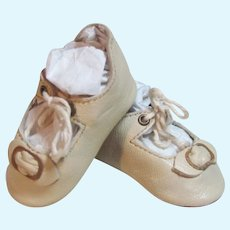 "Kid Light ivory  Leather German Doll or French Bebe shoes 2 ½"" long by 1 1/4"" wide  ~ please contact us for invoice. ~~ #41"