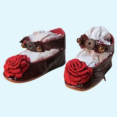 """Kid Burgundy Patent Leather Doll shoes ~ 2 3/4"""" long X 1 1/4"""" wide ~ Repro of Antique Keystone doll shoes ~ #43 ~~ Please wait for an invoice"""