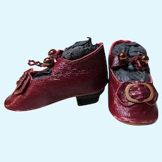 """Heeled Kid Patent Burgundy  Leather Doll Shoes for French or  German Dolls  ~ 2 1/2"""" long & 1 1/8"""" wide  ~~ #45"""
