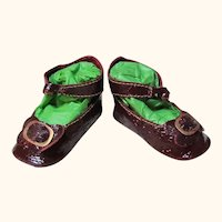 """Kid Patent Burgundy Leather German Doll or French Bebe shoes 2 ½"""" by 1 1/4""""~ please contact us for invoice. ~~ #46"""
