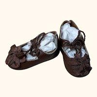 "Leather Doll Shoes 2 1/2""L x 1 1/4""W Antique German Kestner Simon Halbig French Bebe DEP ~51"