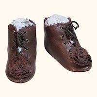 """Kid Leather Doll Boots shoes ~ 2 ¾"""" long & 1 1/4"""" wide ~~ Please contact for an invoice. ~ #39"""