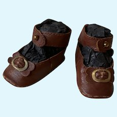 "Kid Dark Brown Leather Doll shoes Antique French German Doll ~ 2 1/2"" long X 1 1/4"" wide ~~ Please wait for an invoice ~~ #47"