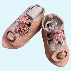 """Rare To Find Leather Doll Shoes 1 ½""""Long by 3/4"""" wide for  Antique German Doll French Bebe Kestner S&H DEP"""