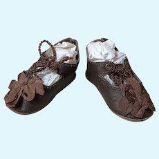 "Leather Doll Shoes 2 1/2""L x 1 1/4""W Antique German Kestner Simon Halbig French Bebe DEP #53"
