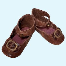 """Leather Doll shoes Antique French German Doll ~ 2 3/4"""" long X 1 1/4"""" wide ~Please wait for an invoice~ #56"""