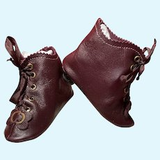"""Heeled Dark Burgundy Kid Leather Doll Boots ~ 3 ¾"""" long & 1 ½"""" wide ~~ #56~ Please contact for an invoice."""