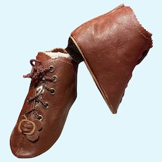 """Heeled Brown Kid Leather Doll Boots ~ 3 ¾"""" long & 1 ½"""" wide ~~ #57 ~~  Please contact for an invoice."""