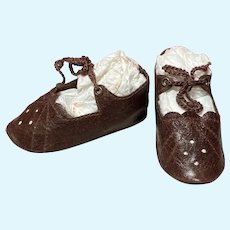 """Kid Brown Leather German Doll or French Bebe shoes 2 3/4"""" long by 1 1/4"""" wide ~ please contact us for invoice. ~~ #59"""