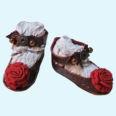 """Kid Burgundy Patent Leather Doll shoes ~ 2 3/4"""" long X 1 1/4"""" wide ~ Repro of Antique Keystone doll shoes ~ #43"""