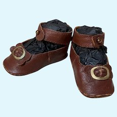 """Kid Dark Brown Leather Doll shoes Antique French German Doll ~ 2 1/2"""" long X 1 1/4"""" wide ~~ Please wait for an invoice ~~ #47"""