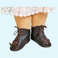 "Heeled Kid Leather Doll Boots Shoes ~ 3 ¾"" long & 1 ½"" wide ~~ #11~ Please contact for an invoice."