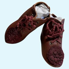 """Kid Leather Doll Boots Shoes ~ 3"""" L x 1 1/4"""" wide~~~ #*1"""