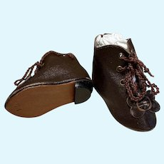 """HEELED KID Dark Brown leather Doll Boots Shoes  ~ 2 ¾"""" LONG & 1 1/4"""" WIDE~~ #*4"""