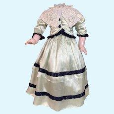 "Silk Costume  Jacket Skirt Hat ~ Dress  French German Fashion Lady Doll ~ fits doll 22-23"" tall"