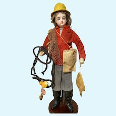 """12"""" Antique French Bisque Shoulder Head Doll by Francois Gaultier FG Fisherman Doll ~ Very Rare ~ Excellent Condition ~ Layaway~"""