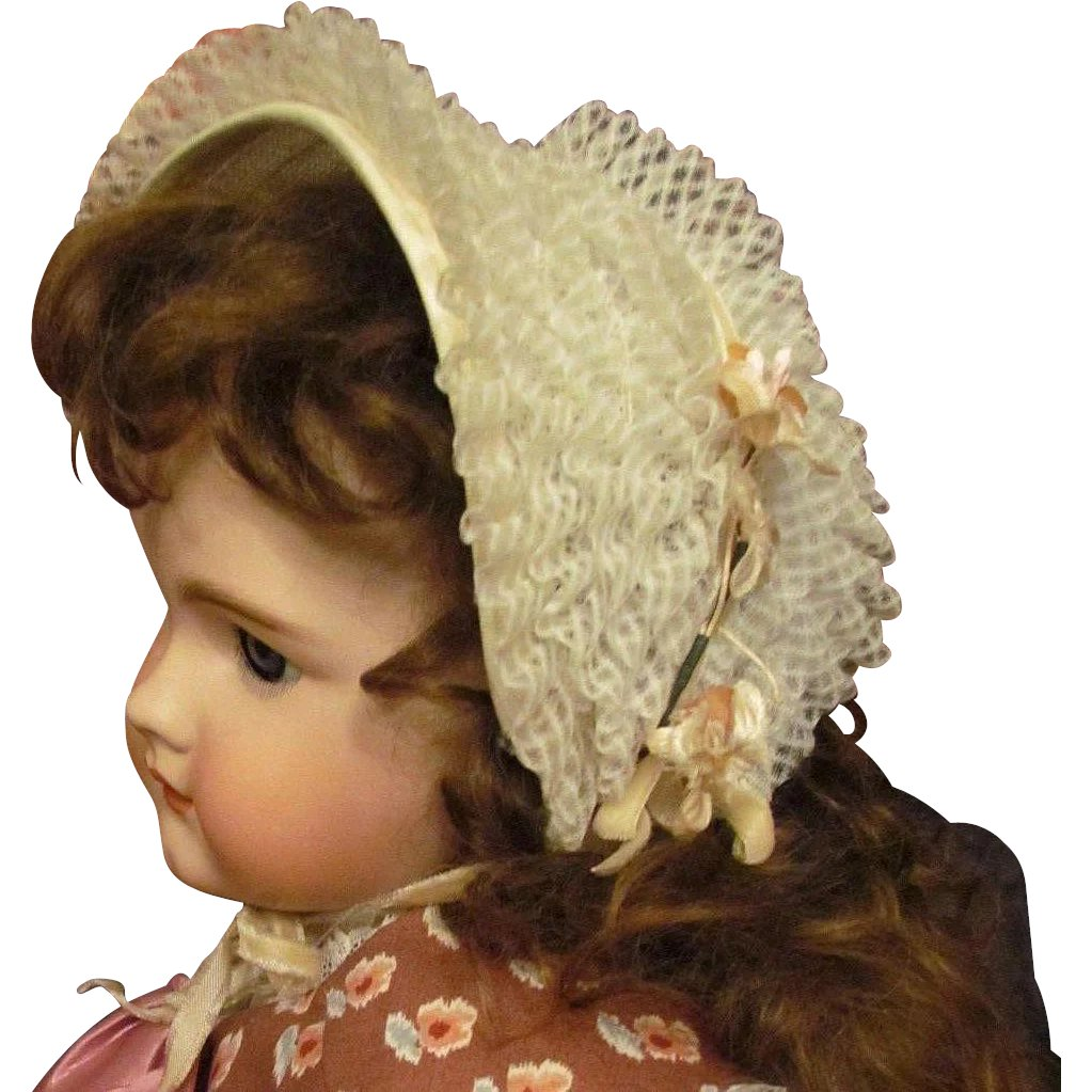 "05650ce56 Vintage Lace Bonnet Hat fits 25"" French or German Doll with head ..."
