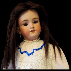 "Beautiful Handmade Brunette Hair Doll Wig fits Antique or Vintage doll  with 13"" head circumference"