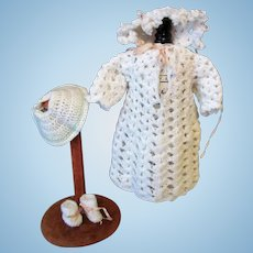 "Very Sweet White Crocheted dress with matching little bonnet and booties. Fits 12-14"" dolls."