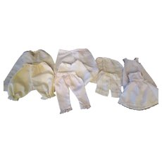 "Big lot of  Undergarments  Seven pantaloons, one half a slip, two full slips for small to medium Bisque Dolls or Hard Plastic dolls 12-16"" Dolls."