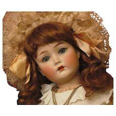 "Darling! 22"" Cuno Otto Dressel Antique German Doll Sleep Original Blue Eyes, Wonderful condition, Lovely Costume."