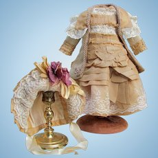 """French Bebe Pure Golden Silk  Lace Dress fits 17"""" tall"""