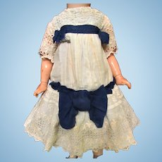 Antique White Cotton Dress for 21-22 inches Antique German Doll Embroidered Cotton Trim, Eyelet, liner