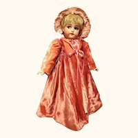 """Pink velvet Coat with bonnet French or German 24-25"""" Doll  ~~  Please wait for an Invoice ~"""