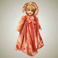 """Pink velvet Coat with bonnet For Your French or German 24-25"""" Doll"""
