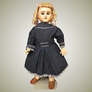 """Vintage Navy Blue Cotton Doll Dress with Embroidery details Fits 24-25"""" French or German Child Character Doll or Baby Doll."""