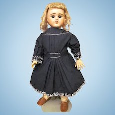 "Vintage Navy Blue Cotton Doll Dress with Embroidery details Fits 24-25"" French or German Child Character Doll or Baby Doll."