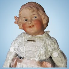 """20 '' Gebruder Heubach German Bisque Character Doll """"Coquette"""" with a nice leather body"""