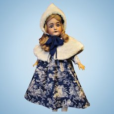 "Empire Waist Doll Dress with Lace Accents and White Faux Fur Cape and Hat to Fit 28-30"" Doll"