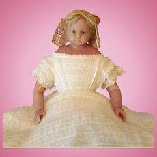 All Original English Poured Wax  Doll  engraved Perroti ~~1860-70ca+
