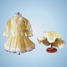 "Organdy Summer Dress, Slip Pantallons Bonnet for 23"" Doll"