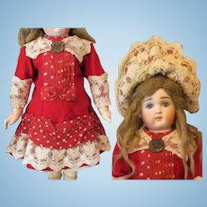 """French Red Wool Dress Bonnet fits 23-24"""" Antique French German or Reproduction Doll"""
