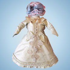 "Doll Dress, bonnet 15-17"" French or German Fashion Doll in Pale Sage color"