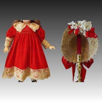 """Red velvet Dress with matching Bonnet fits your 26-27"""" German or French Antique or Reproduction Doll"""