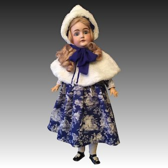 """Holiday Doll Dress with Lace Accents and White Faux Fur Cape and Hat to Fit 28-30"""" Doll"""