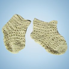 Seamless Crocheted  Cotton Socks for Antique French or German Doll