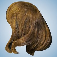 "Old Human Hair wig for a doll with 11 3/4"" to  12"" head circumference"