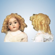 "Old Golden Mohair Doll wig cotton cap fits 10"" in head circumference"
