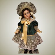 Jacquard Dress  Lace Bonnet fits 28inch Doll